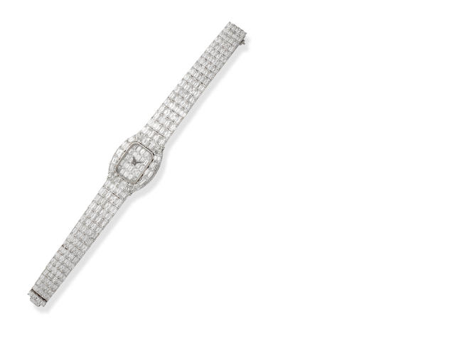 A lady's diamond bracelet watch, by David Morris