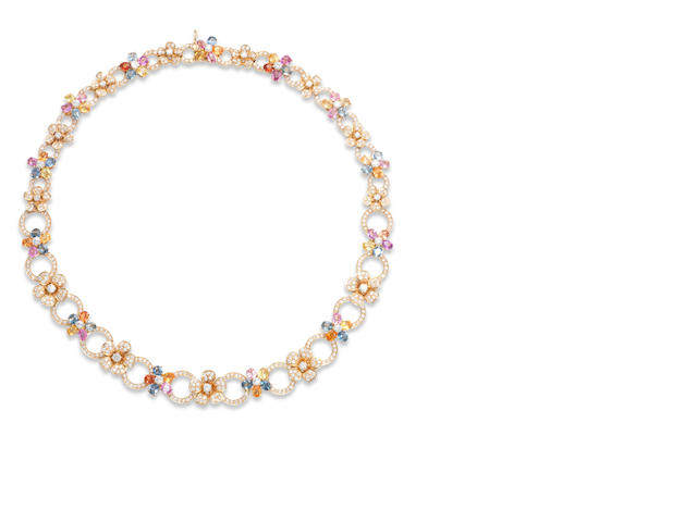 A diamond and multi-coloured sapphire necklace,