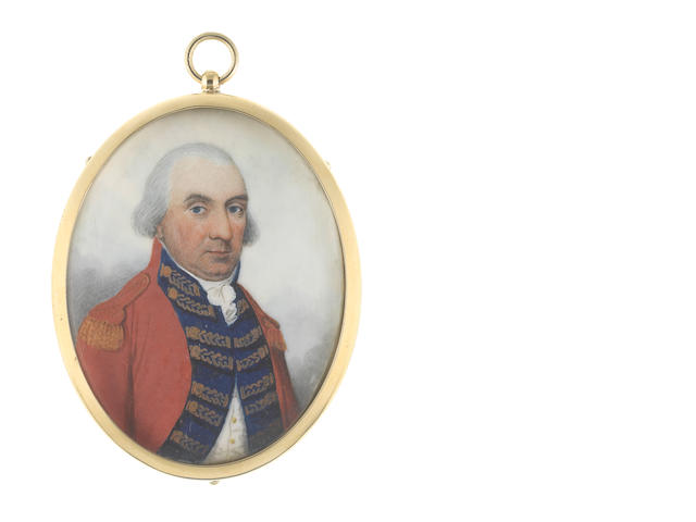Frederick Buck (Irish, 1771-circa 1840) A Major General, wearing scarlet coat, his blue facings decorated with gold lace, gold epaulette, white waistcoat, stock and frilled chemise, his hair powdered