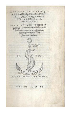 CICERO (MARCUS TULLIUS) Epistolae familiares diligentius, Venice, Paulus Manutius, July 1540