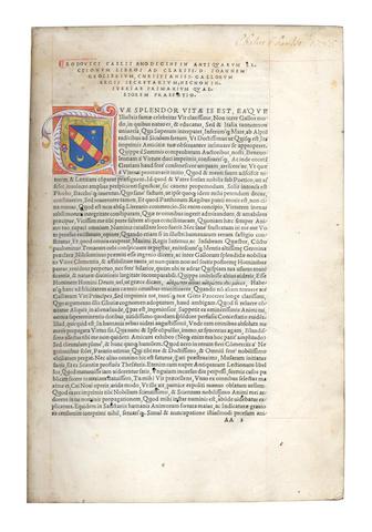RICHERIUS (LUDOVICUS COELIUS)  Sicuti antiquarum lectionum commentariat], Venice, Heirs of Aldus the Elder, February 1516
