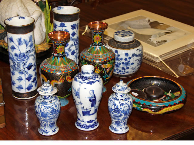 A collection of Chinese ceramics and cloisonne wares 19th/20th Century in date