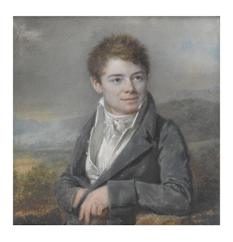 Louis Lié Périn-Salbreux (French, 1753-1817) The artist's son, Hyppolite Périn (d.1827), seated in a landscape and wearing a blue coat, white waistcoat, chemise and tied stock
