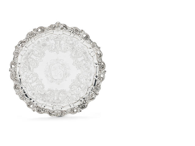 A George II Irish silver salver by Ralph Woodhouse, Dublin, second quarter of 18th century