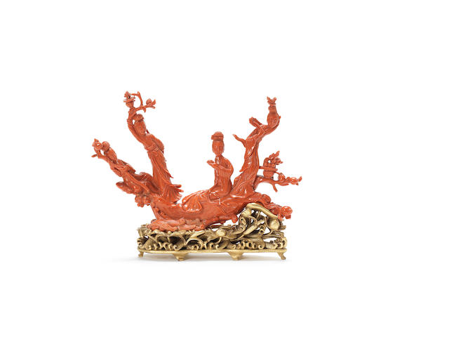 A large red coral carving of Lady Immortals Late Qing Dynasty
