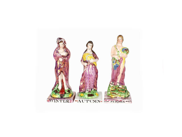Three North Eastern lustred figures emblematic of the Seasons, late 18th-early 19th century
