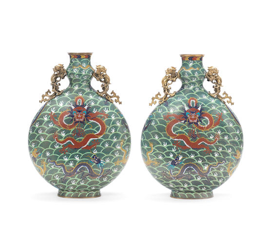 A pair of cloisonné enamel 'nine-dragon' moonflasks, bianhu Late Qing Dynasty