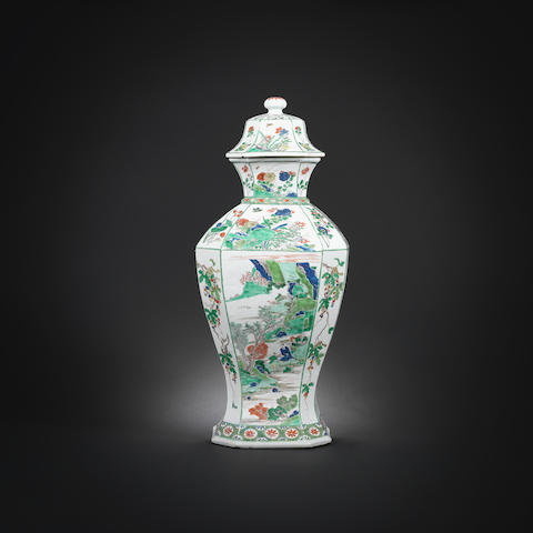 A large famille verte octagonal baluster vase and cover Kangxi