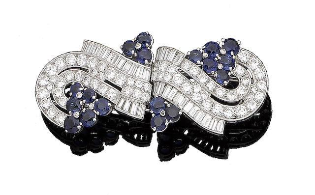 A sapphire and diamond double-clip brooch