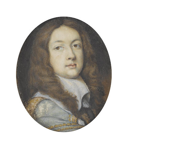 Thomas Flatman (British, 1637-1688) A Gentleman, wearing black doublet and grey cloak finished with gold borders, the latter draped over his right shoulder, white lawn collar drawn with tassels, his natural hair falling over his shoulders