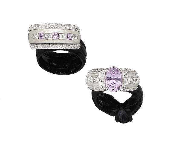 Two pink sapphire and diamond rings (2)