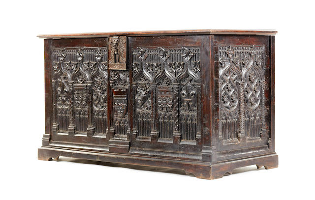 A rare 15th century and later chestnut and walnut Gothic-carved chest, re-assembled, restorations, Northern French