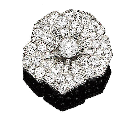 A diamond flower clip brooch, by Cartier