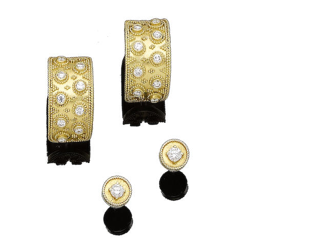 Two pairs of diamond-set earrings, by Lalaounis (2)