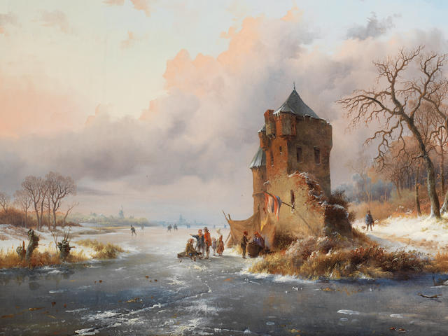Frederik Marinus Kruseman (Dutch, 1816-1882) A winter's evening