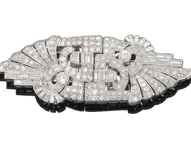 An art deco diamond double-clip brooch,