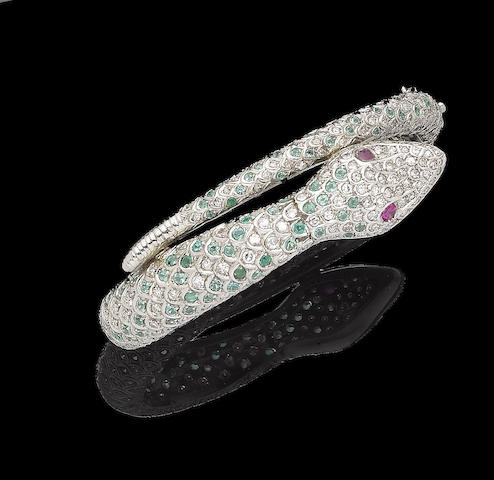 An emerald, ruby and diamond serpent hinged bangle