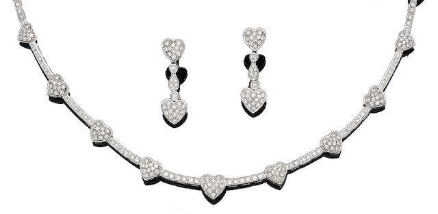 A diamond-set heart necklace, bracelet and earring suite (3)