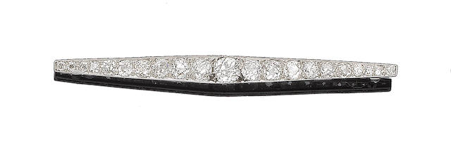 A belle époque diamond bar brooch,