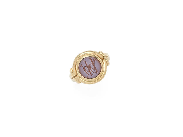"""William Holman Hunt's gold and hardstone signet ring, known as """"The Millais Ring"""", probably Hunt and Roskell,"""