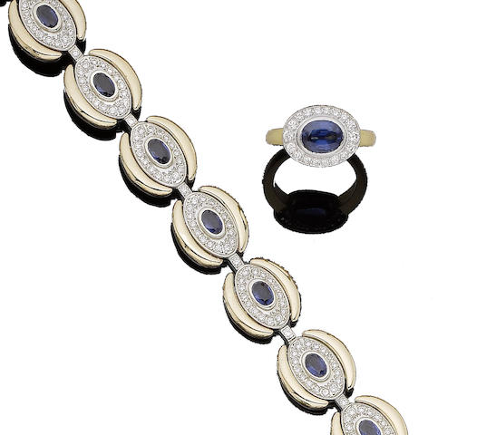 A sapphire and diamond bracelet and a sapphire and diamond cluster ring (2)