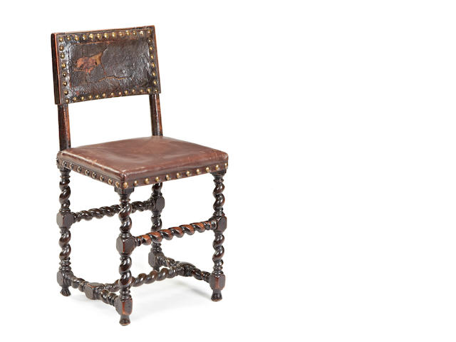 A Charles II walnut and hide upholstered side chair, South England, circa 1660-80