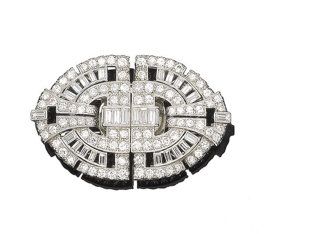 A diamond double-clip brooch