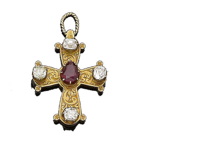 A ruby and diamond-set pendant,