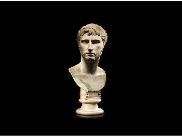 A Roman marble portrait bust of Gaius Caesar