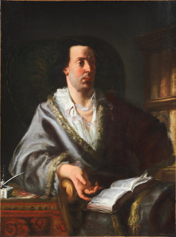 Gaspare Traversi (Naples 1722-1769) Portrait of a gentleman, three-quarter-length, in a silk fur-trimmed coat, seated at his desk, holding a book unframed