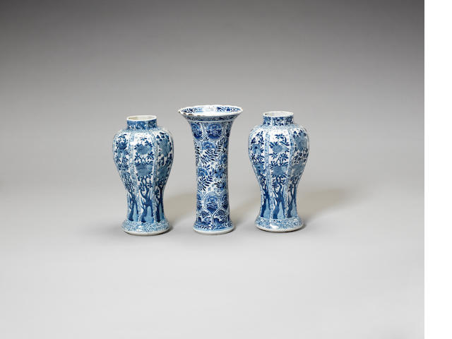 Three blue and white vases 18th century