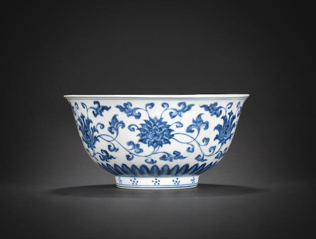 A fine and rare blue and white 'lotus scroll' bowl Xuande six-character mark and of the period