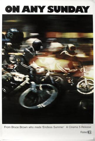 'On Any Sunday', an original film poster starring Steve McQueen, 1971,
