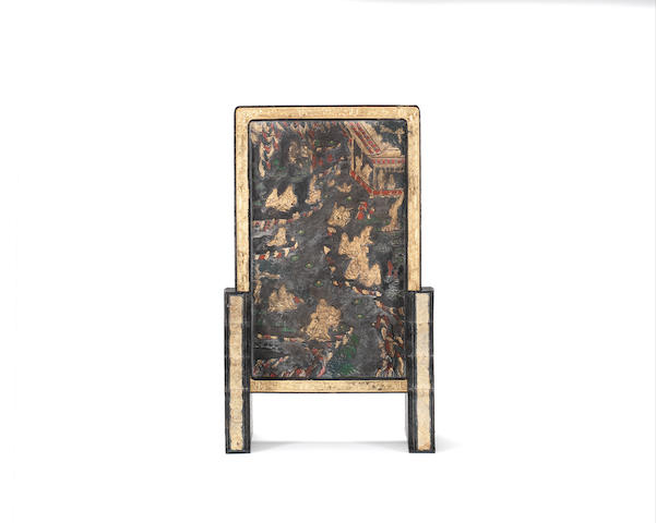 A rare moulded and carved ink cake 'Lanting Xu' table screen and stands Qianlong six-character mark and probably of the period
