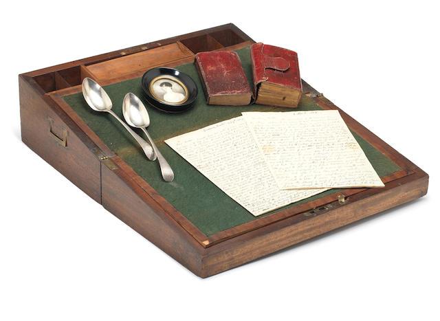 COLERIDGE'S WRITING SLOPE. Mahogany writing slope, [late eighteenth or first quarter nineteenth century]