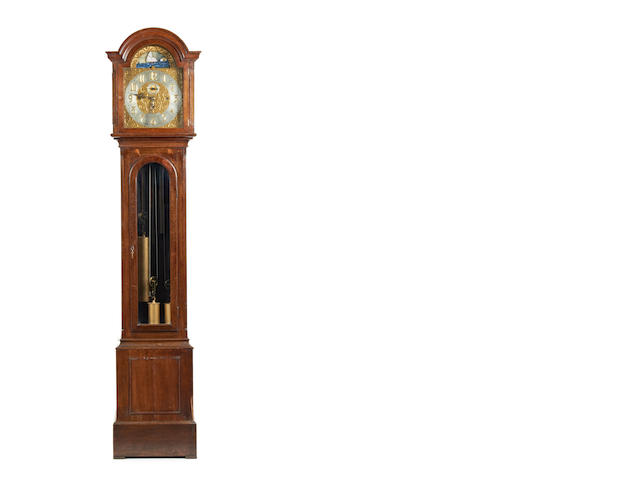 A 19th century oak 8 day musical half hour repeater long case clock with moon dial  Thomas Armstrong. Manchester