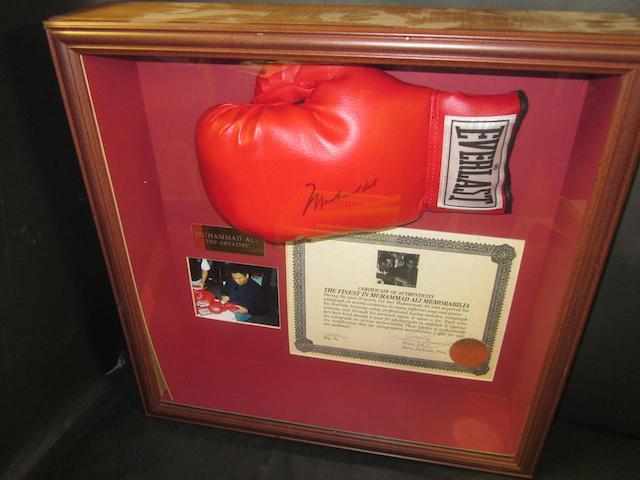 Muhammad Ali hand signed boxing glove presentation