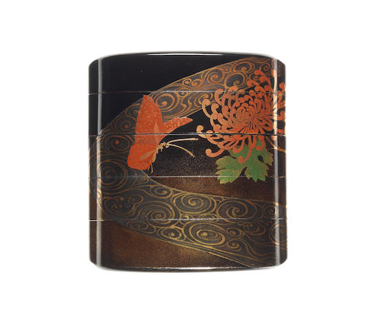 A black lacquer four-case inro By Komin, Meiji Period