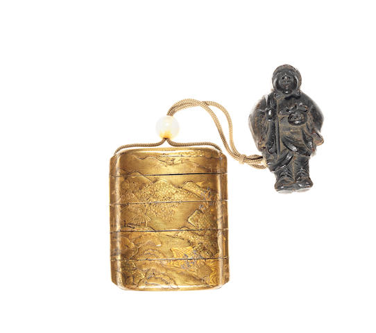 A small gold lacquer four-case inro By Kozan, 19th century