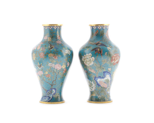 A near pair of cloisonne vases 19th century, De Cheng studio marks