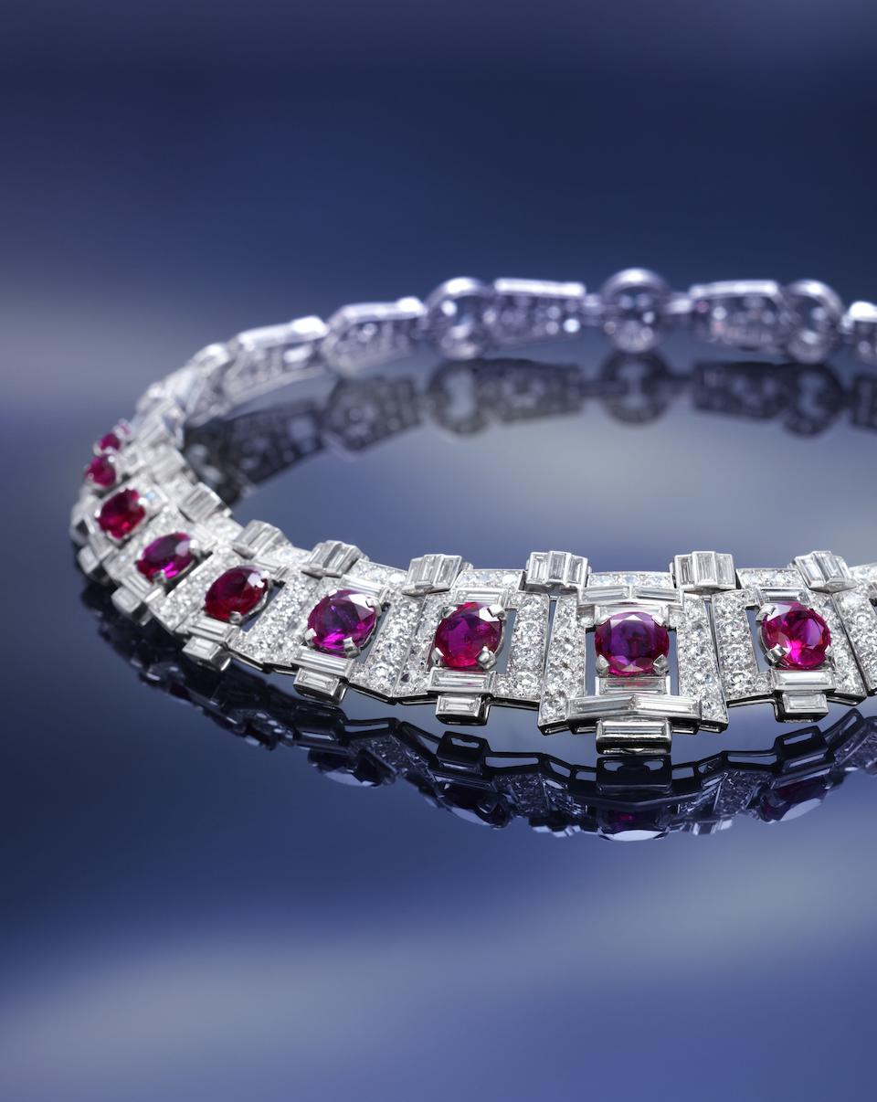 An important art deco ruby and diamond necklace, by Cartier,