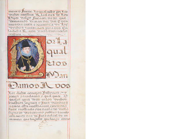 SPAIN. Carta Executoria de Hidalguia in favor of Hernando Alonso Altamirano of Medellín, Badajoz, FINE INITIAL LETTER PORTRAIT OF PHILIP IV IN GOLD AND COLOURS, Granada, 4 April 1623