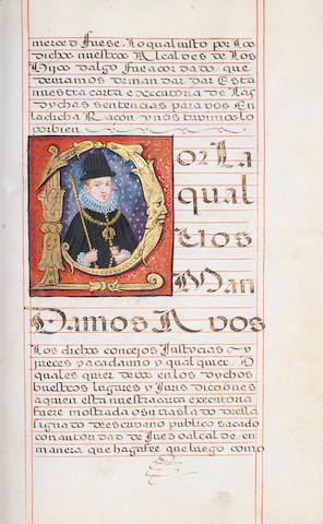 SPAIN. Carta Executoria de Hidalguia in favor of Hernando Alonso Altamirano of Medellín, Badajoz, FINE INITIAL LETTER PORTRAIT OF PHILIP IV IN GOLD AND COLOURS, Granada, 4 April 1623