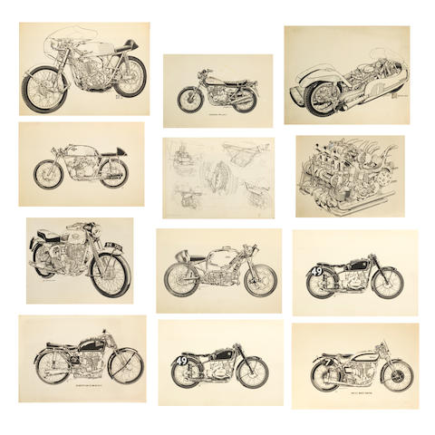 Bruce Smith, a collection of original pen and ink illustrations for Motor Cycle News, 1960s-70s,