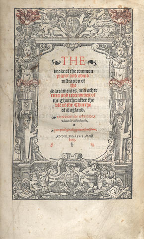 BOOK OF COMMON PRAYER. The Booke of the Common Prayer and Administration of the Sacramentes, 16 June 1549