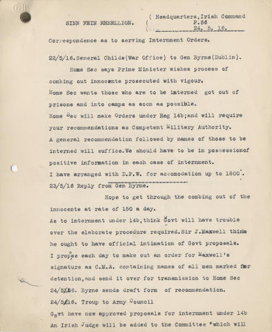 IRELAND â013 THE EASTER RISING. File of papers of Sir John Sankey (afterwards Lord Chancellor), principally as Chairman of the 'Advisory Committee to Try Sinn Feiners', established after the Easter Rising of April 1916