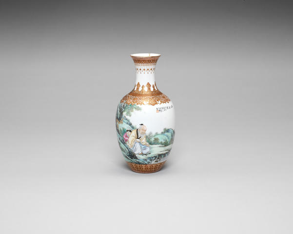 A famille rose eggshell porcelain baluster vase Dated bingzi year (AD1940) and signed Wang Dafan with two seals of the artist, Xiping Caolu seal mark to base