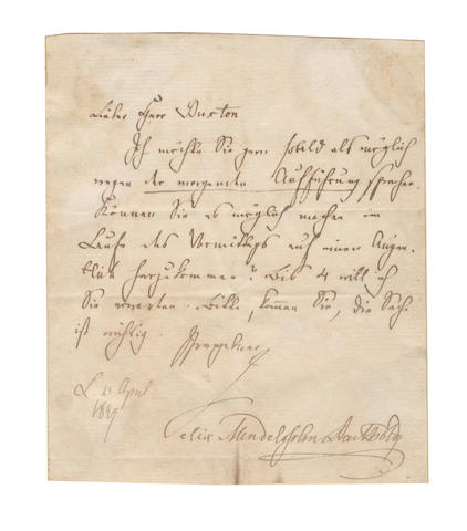 MENDELSSOHN (FELIX BARTHOLDY) Autograph letter signed, in German, to [Edward] Buxton, his publisher, 1847