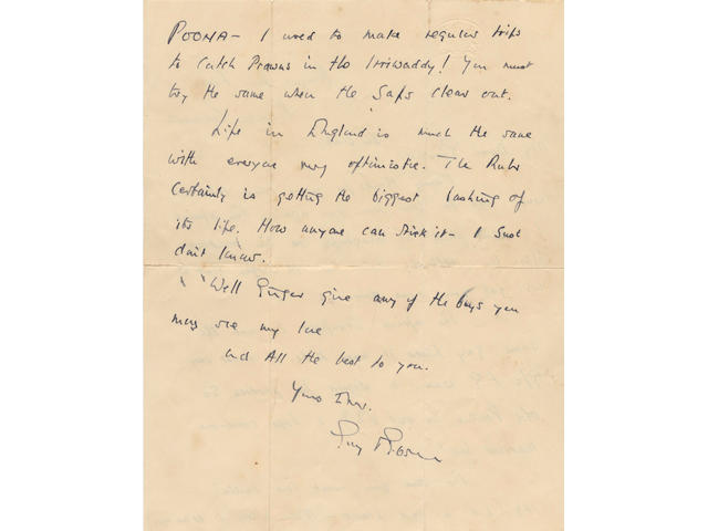 GIBSON (GUY, VC, DSO, DFC) Autograph letter signed, to Flight-Lieutenant Cecil Wilfred 'Ginger' Parkins, 1943