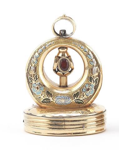 A gold and enamel musical fob seal, circa 1870,